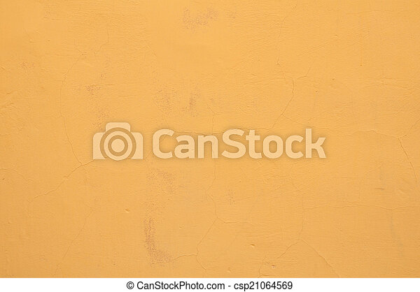 Texture of old wall with yellow stucco - csp21064569