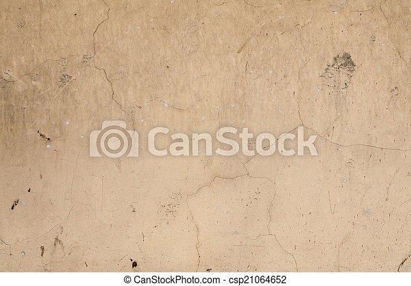 Texture of old wall with yellow stucco - csp21064652