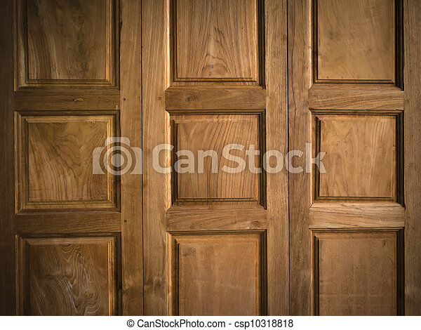 Texture Of Teak Wood Door   Csp10318818