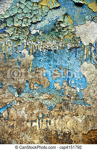 texture of the old grunge stucco wall with cracks - csp4151792
