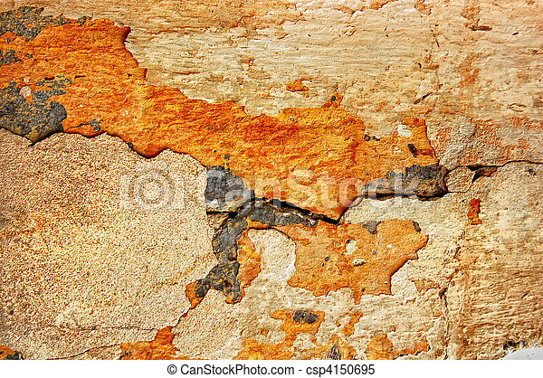 texture of the old stucco wall with cracks - csp4150695