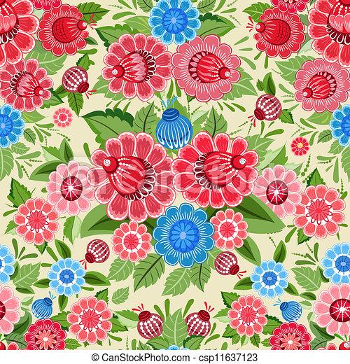 Texture seamless flowers khokhloma - csp11637123