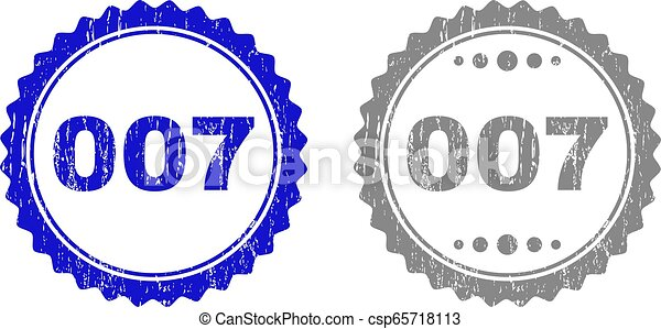 Textured 007 Scratched Stamp Seals with Ribbon - csp65718113