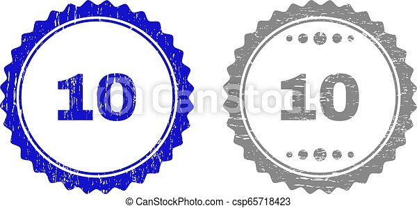 Textured 10 Scratched Stamp Seals with Ribbon - csp65718423