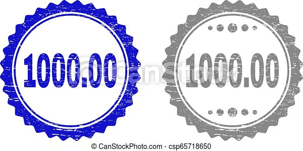 Textured 1000.00 Scratched Stamp Seals with Ribbon - csp65718650