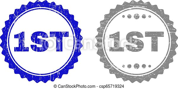 Textured 1ST Scratched Stamp Seals with Ribbon - csp65719324