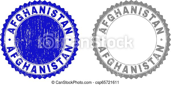 Textured AFGHANISTAN Scratched Stamp Seals with Ribbon - csp65721611