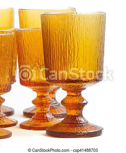 Textured Amber Glasses - csp41488703