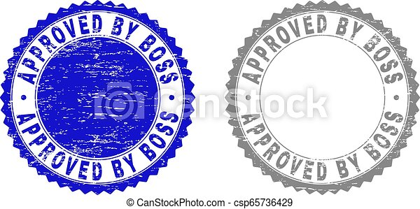 Textured APPROVED BY BOSS Scratched Stamp Seals - csp65736429