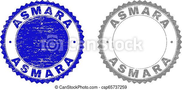 Textured ASMARA Grunge Stamps - csp65737259