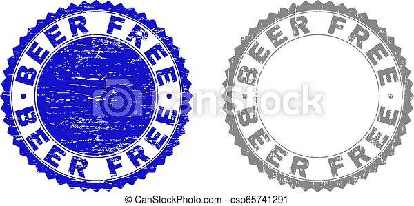 Textured BEER FREE Grunge Watermarks - csp65741291
