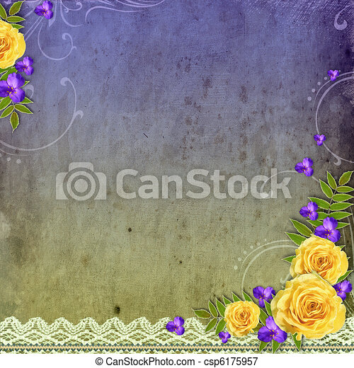 Textured grunge background with yellow rose and space for text - csp6175957