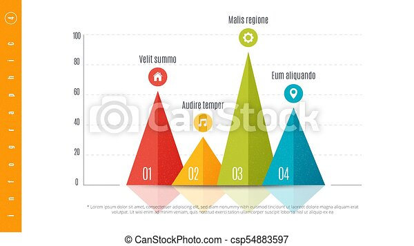 Bar Chart Template | Textured Infographic Bar Chart Template With 4 Options Vector