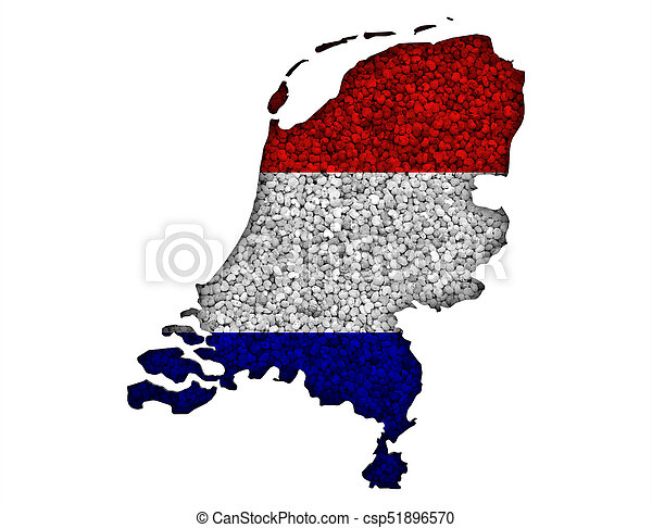 Textured map of the Netherlands in nice colors - csp51896570