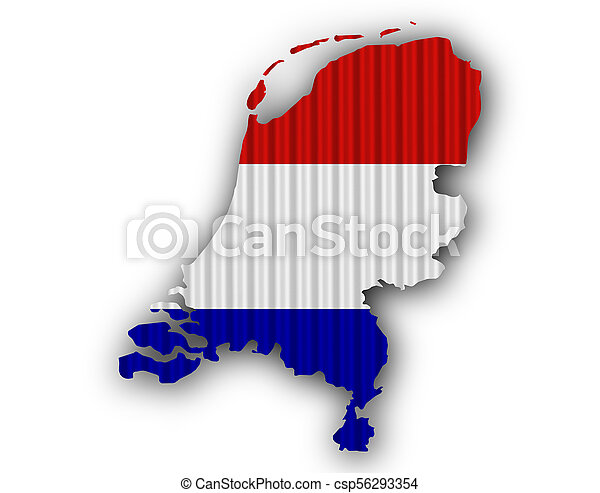 Textured map of the Netherlands in nice colors - csp56293354