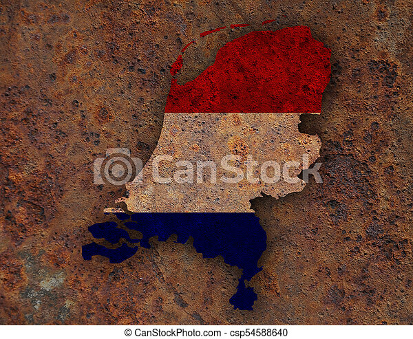 Textured map of the Netherlands in nice colors - csp54588640