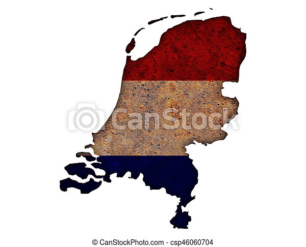 Textured map of the Netherlands in nice colors - csp46060704