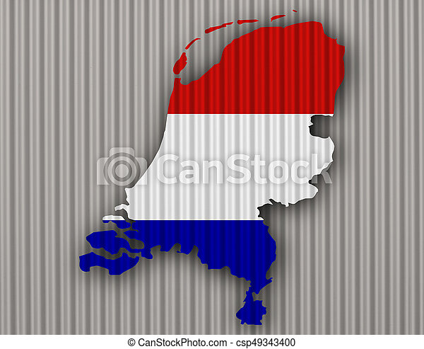 Textured map of the Netherlands in nice colors - csp49343400