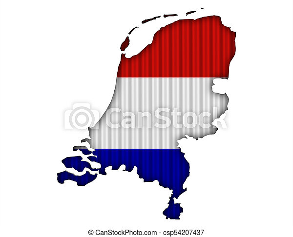 Textured map of the Netherlands in nice colors - csp54207437