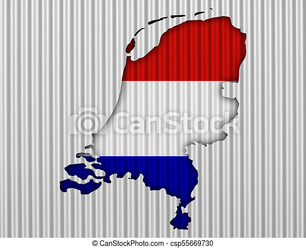 Textured map of the Netherlands in nice colors - csp55669730