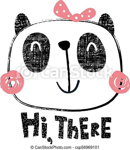 Textured Panda Girl Vector Illustration Cute Panda With Texture