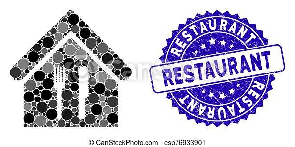 textured, restaurant, icône, timbre, mosaïque - csp76933901