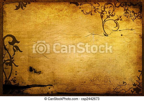 texturen, floral, stijl, achtergronden, frame - csp2442673