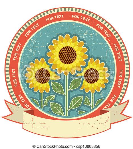 texture.vintage, antigas, símbolo, estilo, papel, girassóis - csp10885356