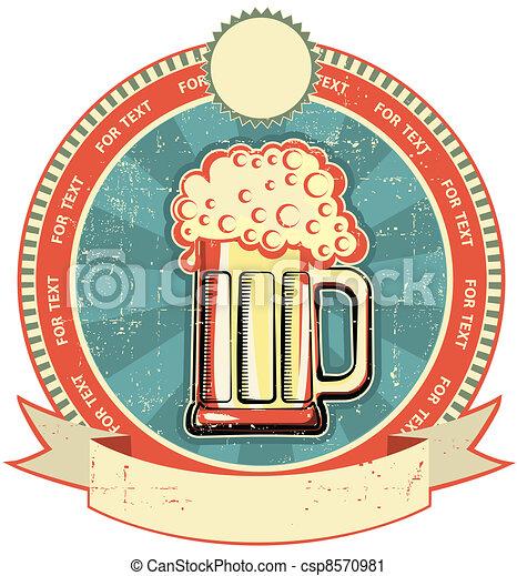 texture.vintage, estilo velho, etiqueta, cerveja, papel - csp8570981