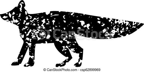 Silueta de zorro con texuro aislado en el fondo blanco. - csp62899969