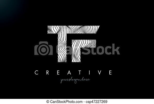 Line Design Clipart Free : Tf t f letter logo with zebra lines texture design vector clip