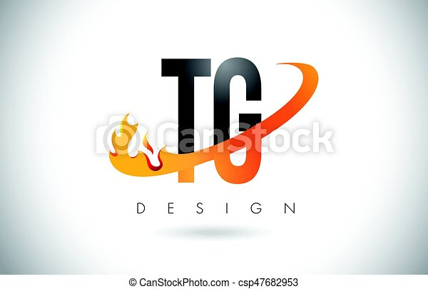 Tg T G Letter Logo With Fire Flames Design And Orange Swoosh