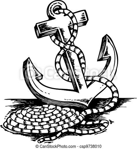 Th me ancre dessin illustration dessin th me vecteur ancre - Dessin ancre bateau ...
