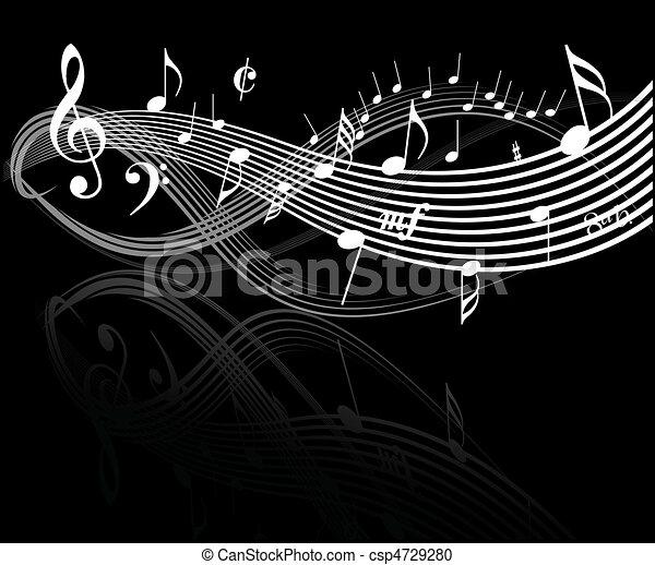 Note De Musique Blanche Sur Fond Noir