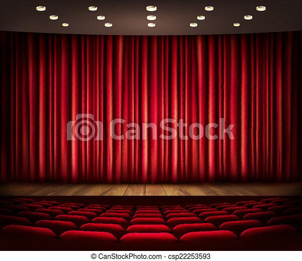 Th tre cin ma sc ne vector curtain ou - Dessin de theatre ...