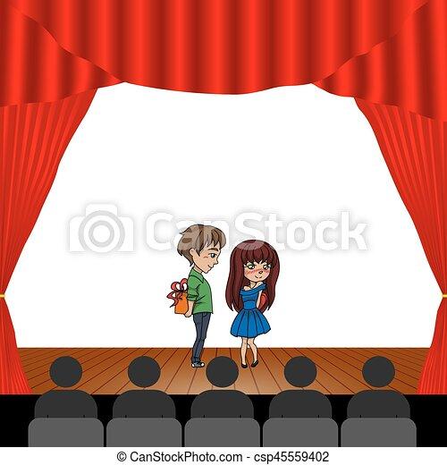 Th tre gens th tre int rieur vecteur spectateurs - Dessin de theatre ...