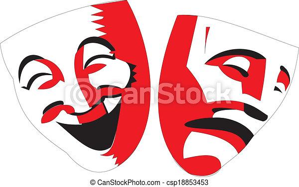 Théâtre Masques Arrière Plan Noir Blanc Rouge