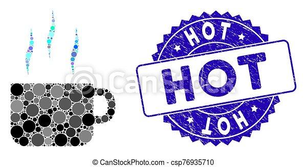thé, gratté, icône, chaud, tasse, timbre, mosaïque - csp76935710