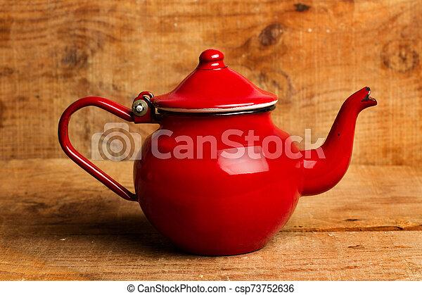 théière, table bois, rouges - csp73752636