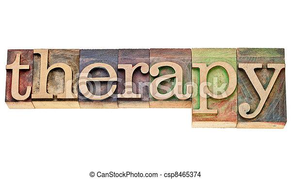 thérapie, type, mot, letterpress - csp8465374