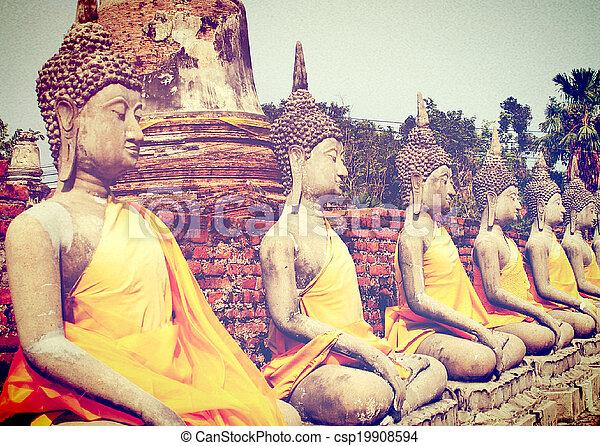 thaïlande, yaichaimongkol, wat, bouddha, ayutthaya - csp19908594