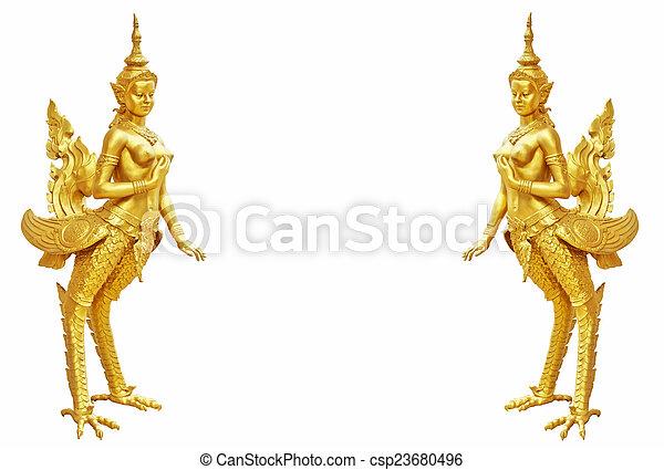 Thai art Kinnaree statue : The mythical half bird half woman - csp23680496