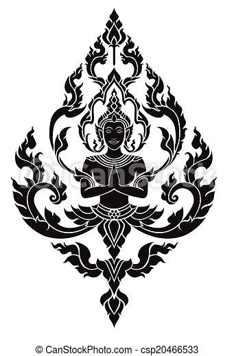 Thai arts angel, vector pattern - csp20466533