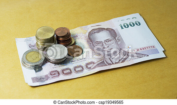 Thai baht currency and money bank note - csp19349565