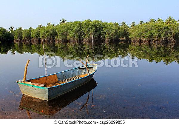 Thai boat in the lake - csp26299855