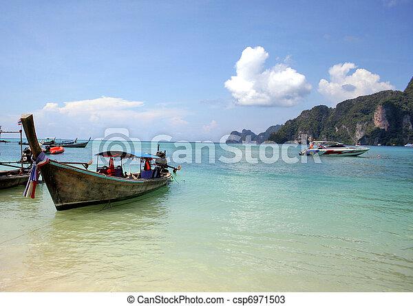 Thai boat in the ocean - csp6971503
