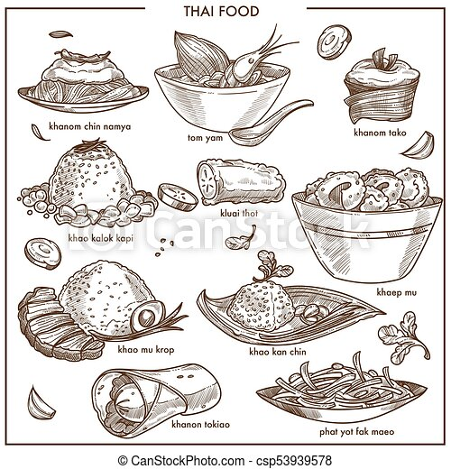 Thai Cuisine Food Vector Sketch Dishes Icons For Restaurant Menu Or Cooking Recipe. Thai Cuisine ...