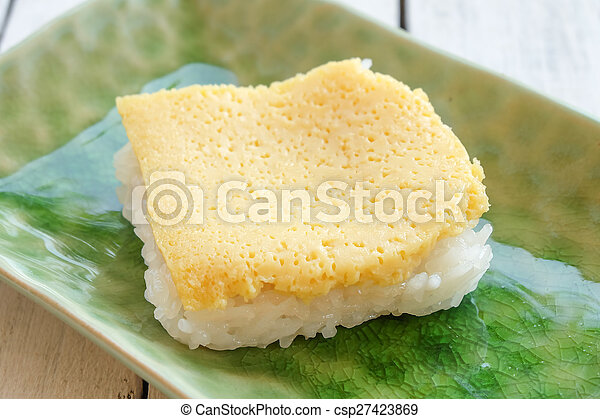 Thai custard with sticky rice - csp27423869