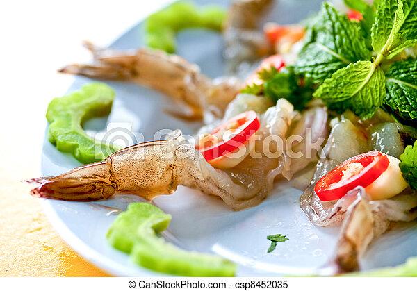 Thai Dishes - Raw Shrimps - csp8452035