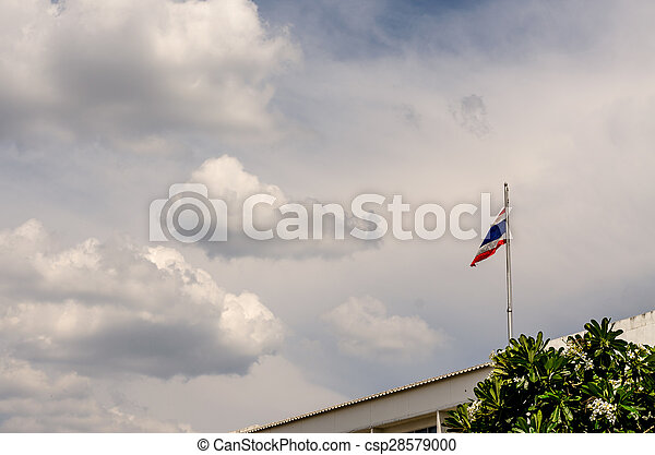 Thai flag of Thailand with sky background - csp28579000